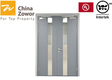Grey Color UL Terdaftar Fire Fire Steel Door Dengan 5mm Glass Ceramic