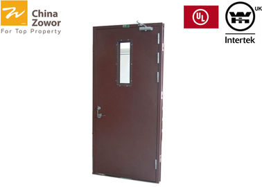 Frosted Red Color Terdaftar Baja Fire Safety Door / Material Baja Galvanis