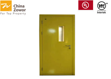 Cina Bubuk Kuning Dilapisi Gal.  Baja 45 mm FD60 Fire Door Dengan Kaca Anti Api 24 mm Distributor